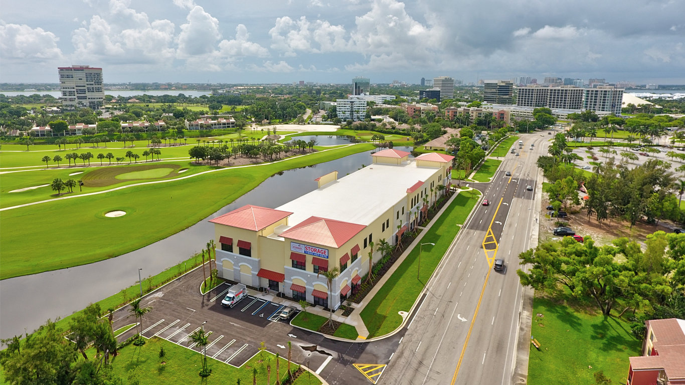 aerial view of commercial real estate property