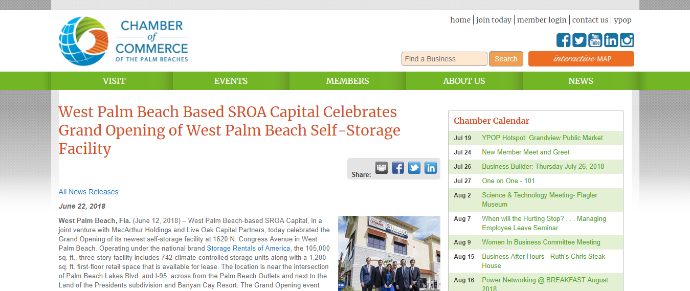 sroa capital celebrates grand opening of wpb self storage facility
